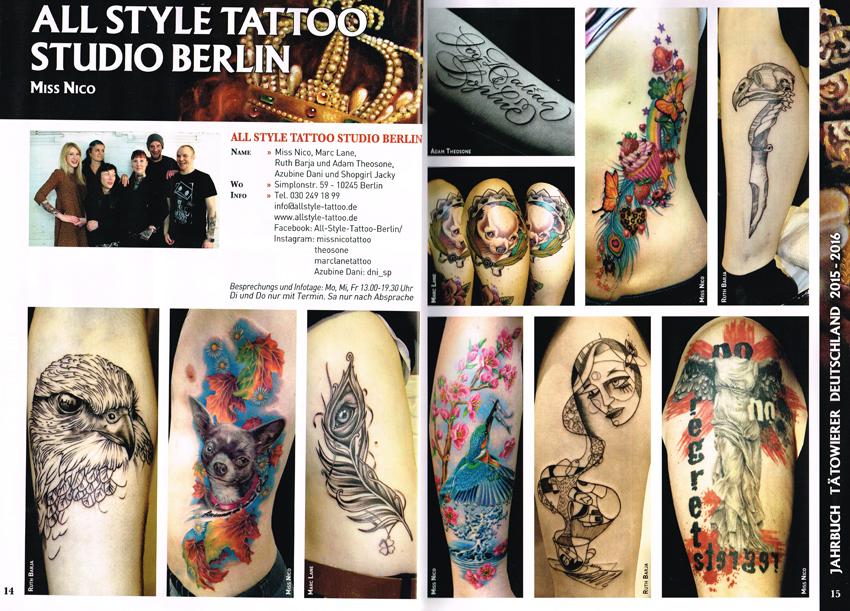 Jahrbuch Tätowierer deutschland 15-16 page1 Allstyle Tattoo missNico Adam Theosone Marc Lane Ruth Barja